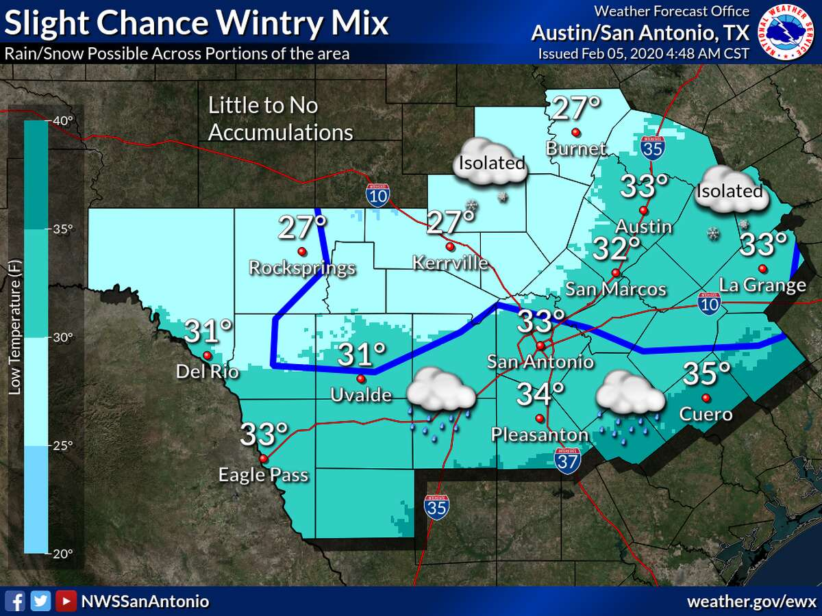 Tonight: A rain/snow mix is possible for areas mainly north of a Uvalde to New Braunfels to Halletsville line