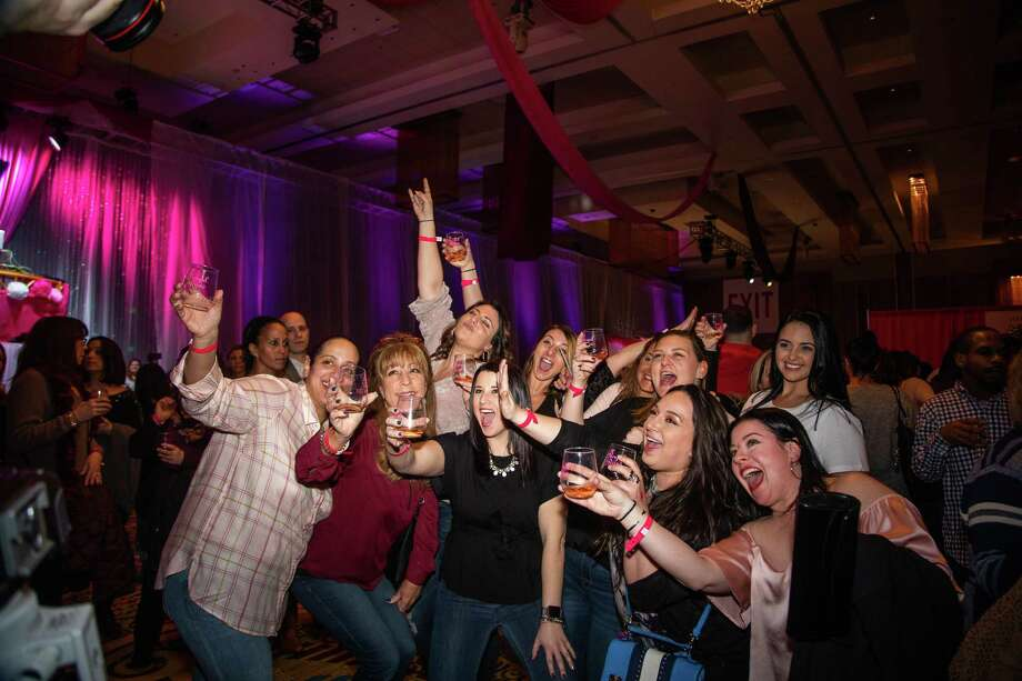 A group of women raise a glass of rosé at last year's event. Photo: Foxwoods / Contributed Photo