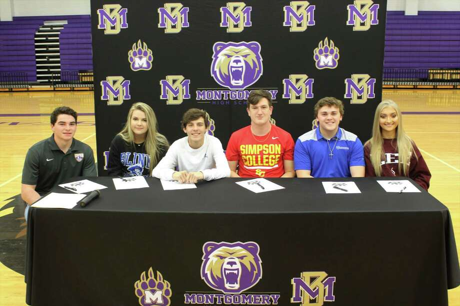 From left: Montgomery athletes Andrew Carter, Olivia Hattersly, Luke Kennedy, Mason Little, Hayden Norris and Amanda Shoup celebrated their college commitments on Wednesday morning. Photo: Jon Poorman