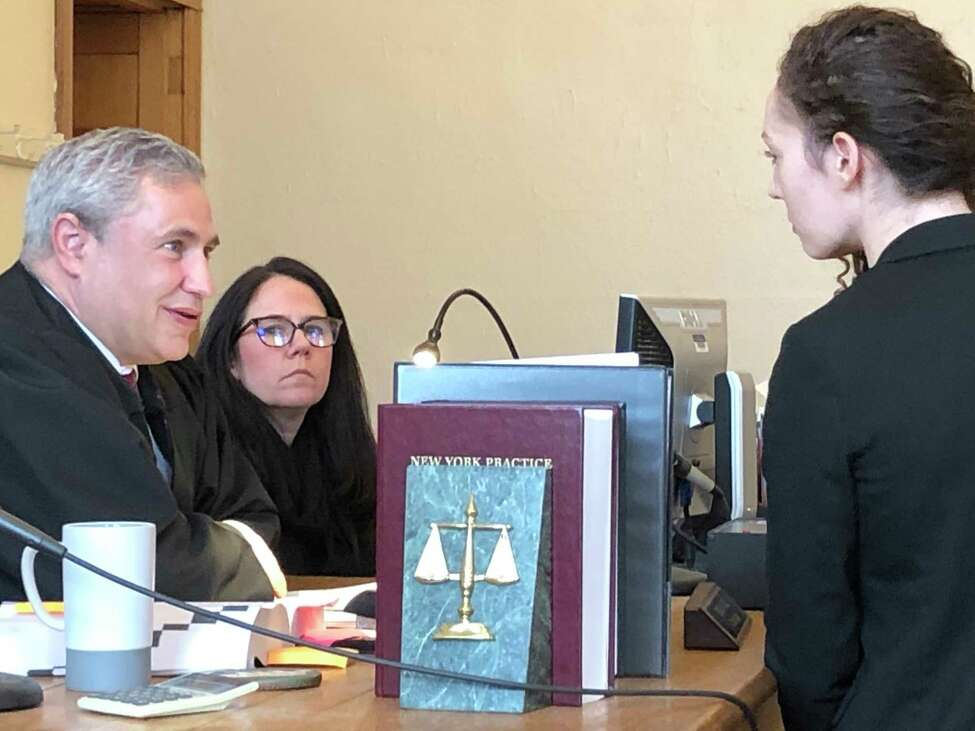Angela Kelley, right, an attorney with the Albany County Public Defender's Office, argued with Cohoes City Court Judge Thomas Marcelle that he does not have the authority under law to set bail for her client, who is charged with aggravated unlicensed operation of a motor vehicle. Marcelle issued a decision in the case challenging the constitutionality of a new law that prohibits judges from setting bail for non-violent offenses.