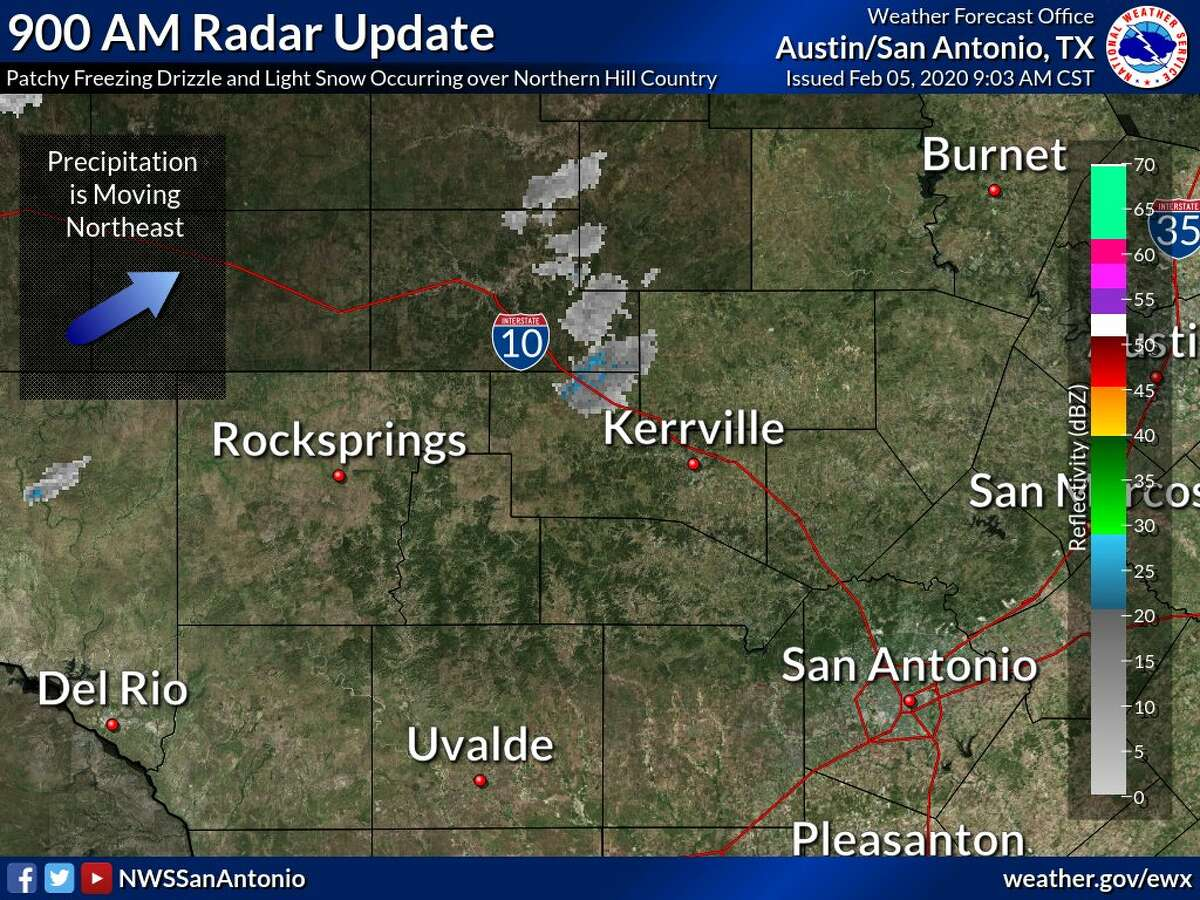 Patchy, freezing frizzle and light snow flurries were reported in the Hill Country at 9 a.m. Wednesday morning.The National Weather Service released the radar update via Twitter. The areas affected were across the northern Hill Country and north of Kerrville, which is about an hour from San Antonio.