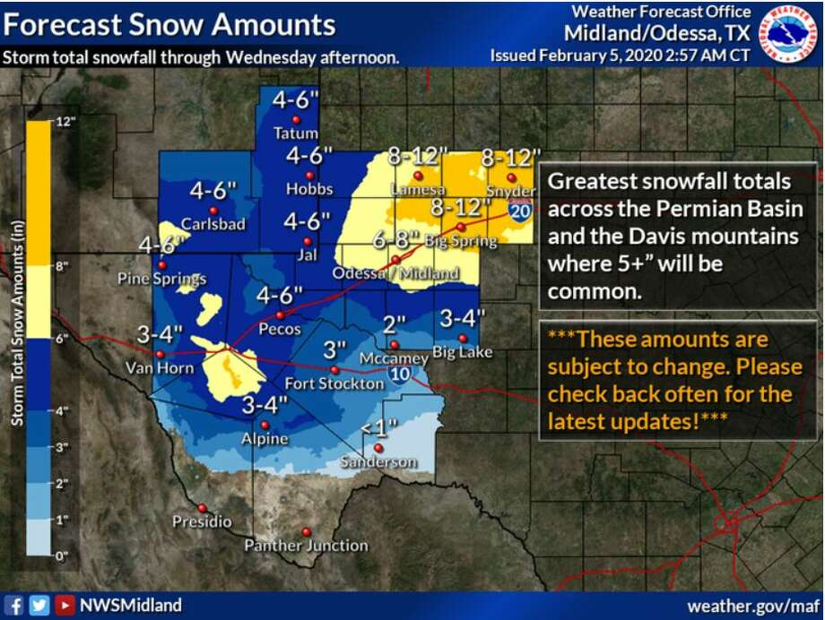 Storm total snowfall accumulations expected across the region. Photo: NWS Midland/Odessa