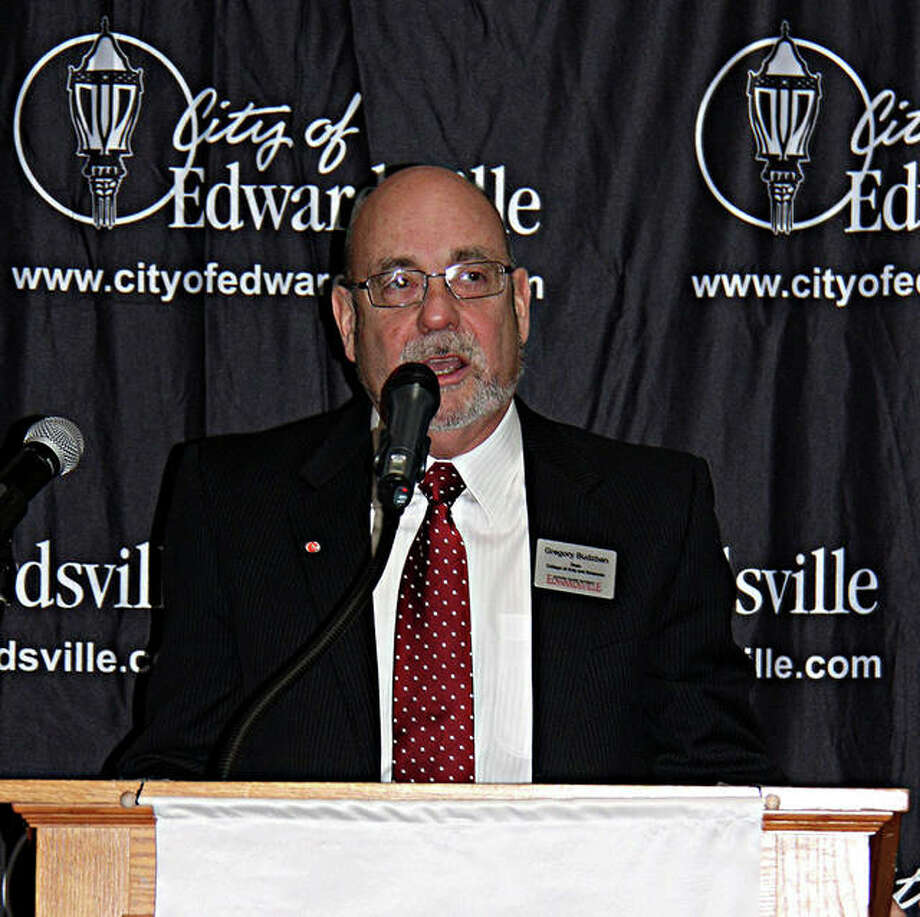 Dr. Gregory Budzban, SIUE Dean of Arts and Sciences, delivers the keynote address at Edwardsville's Sixth Annual Economic Forecast Breakfast in the Leclaire Room at Lewis and Clark Community College. Photo: Charles Bolinger|The Intelligencer