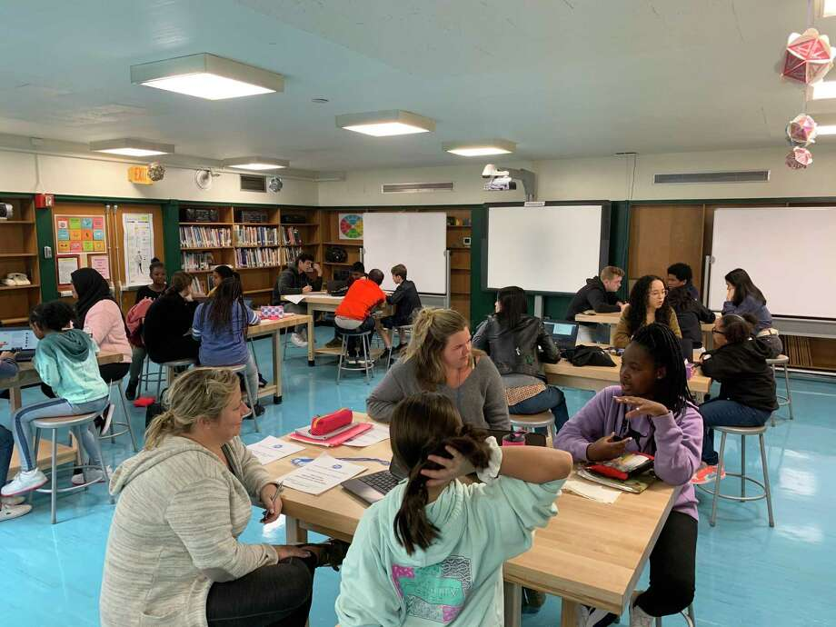 The Stamford Public Education Foundation received a grant from the Pitney Bowes Foundation in support of its Stamford Mentoring Program, which serves students in grades 3 through 12. Photo: Contributed