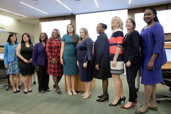 Members of the Houston ISD school board, eight of whom are pictured in January 2020, are scheduled to reconvene Thursday morning for a second attempt a selecting a board president. Shown are, from left, Trustee Anne Sung, Trustee Elizabeth Santos, Interim Superintendent Grenita Lathan, Trustee Kathy Blueford-Daniels, Trustee Dani Hernandez, Trustee Judith Cruz, Trustee Pat Allen, Board President Sue Deigaard, Trustee Holly Maria Flynn Vilaseca and former trustee Wanda Adams.