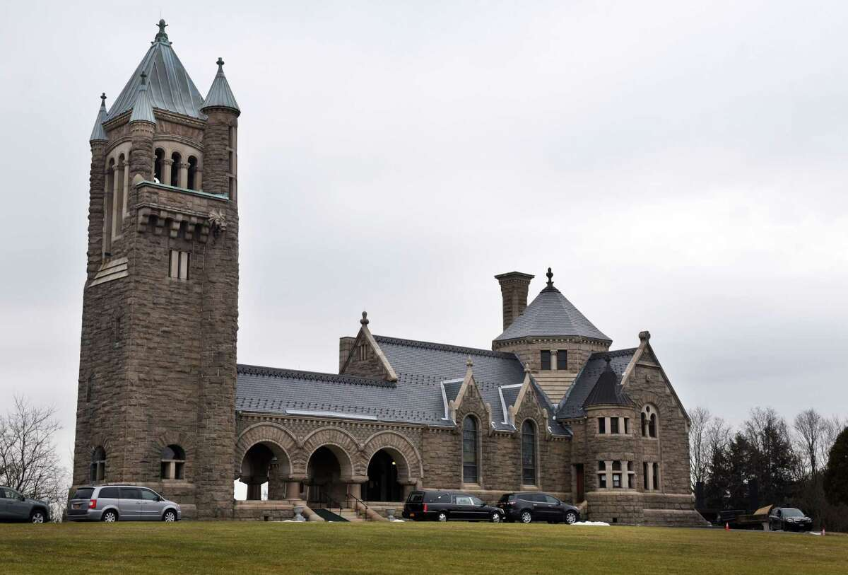 """Oakwood Cemetery Chapel and Crematorium on Tuesday, Feb. 4, 2020, in Troy, N.Y. Location scouts for a new HBO production titled """"The Gilded Age,"""" written by the writer for """"Downton Abbey,"""" are searching the area for possible filming sites. (Will Waldron/Times Union)"""