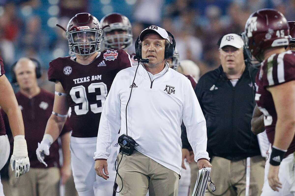 JACKSONVILLE, FL - DECEMBER 31: Head coach Jimbo Fisher of the Texas A&M Aggies looks on against the North Carolina State Wolfpack during the TaxSlayer Gator Bowl at TIAA Bank Field on December 31, 2018 in Jacksonville, Florida. (Photo by Michael Reaves/Getty Images)
