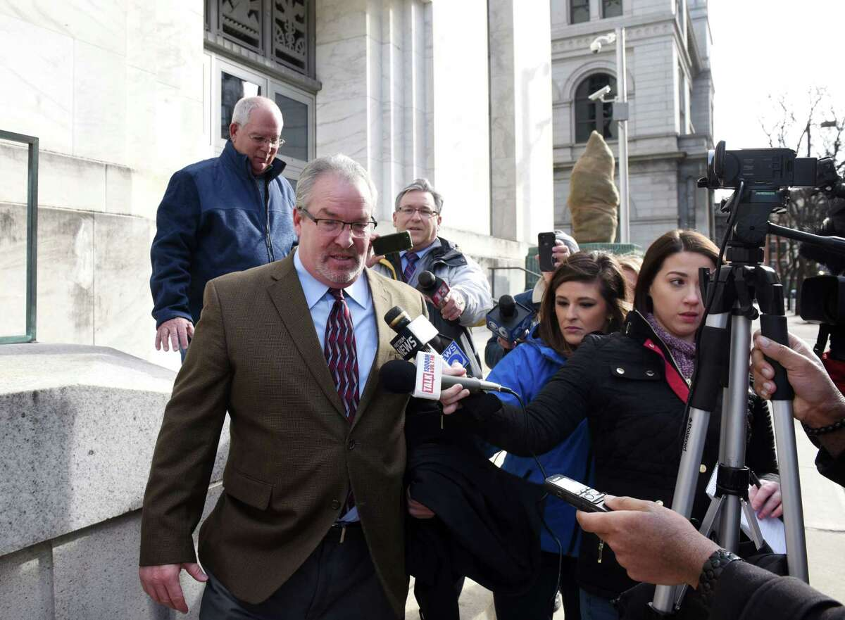Former Cohoes mayor Shawn Morse speaks to the media after being sentenced for a federal wire fraud conviction on Wednesday, Feb. 5, 2020, at James T. Foley Federal Courthouse in Albany, N.Y. (Will Waldron/Times Union)