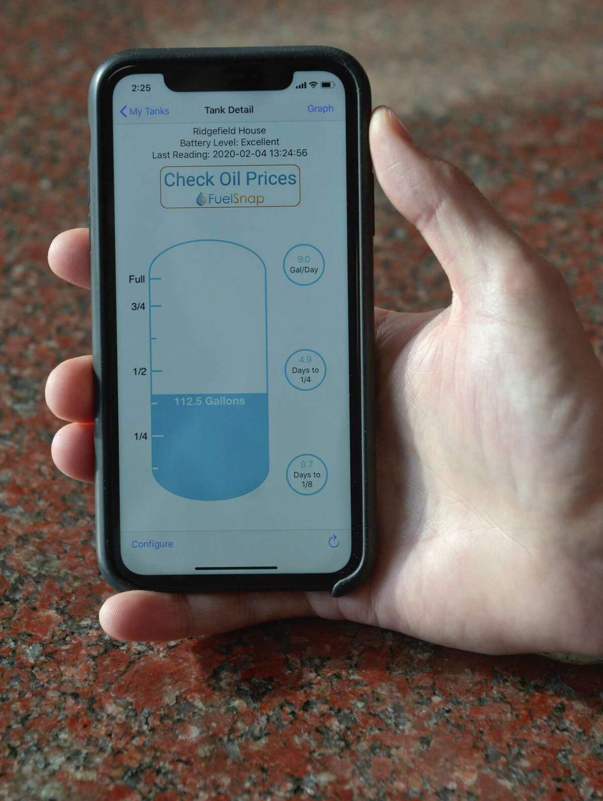 An app for Smart Oil Gauge that helps homeowners and oil companies get a better read on oil tank reserves. Tuesday, February 4, 2020, in Danbury, Conn.