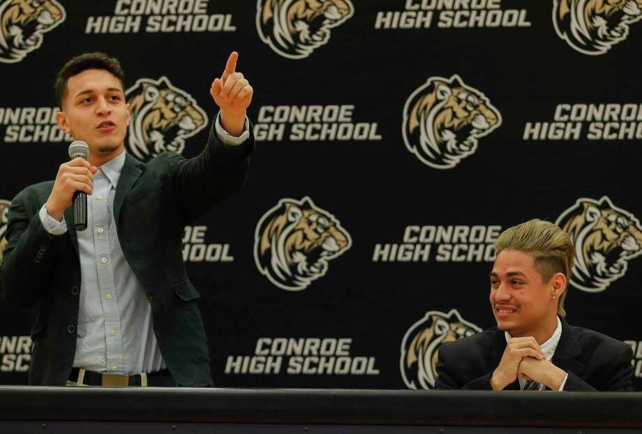 Josue Fuentes speaks beside teammate Danny Bonilla as the two signed to play soccer for Murray State during a National Signing Day ceremony at Conroe High School, Wednesday, Feb. 5, 2020, in Conroe. Photo: Jason Fochtman, Houston Chronicle / Staff Photographer / Houston Chronicle © 2020