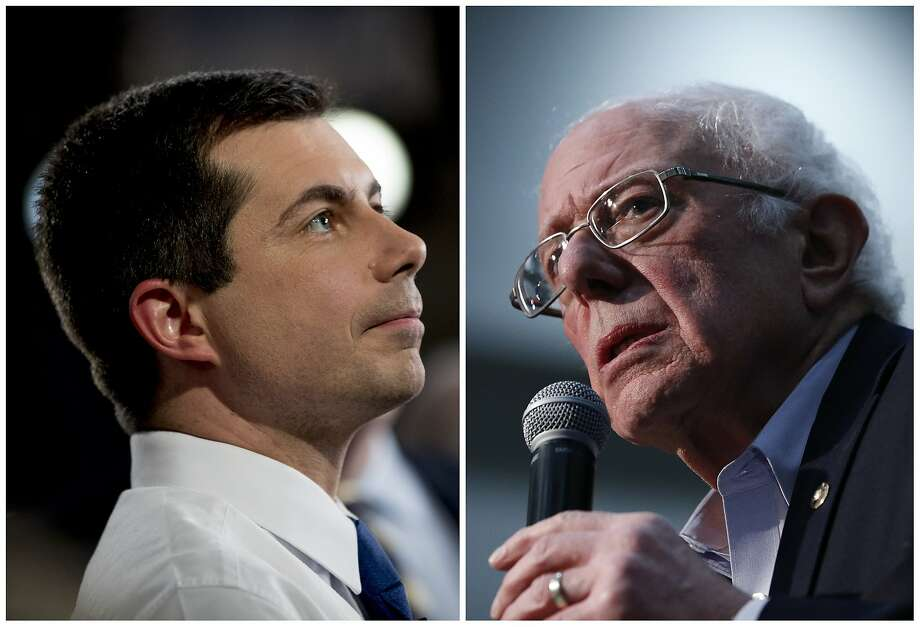 This combination of Jan. 26, 2020, photos shows at left, Democratic presidential candidate former South Bend, Ind., Mayor Pete Buttigieg on Jan. 26, 2020, in Des Moines, Iowa; and at right Democratic presidential candidate Sen. Bernie Sanders, I-Vt., in Sioux City, Iowa. After a daylong delay, partial results from Iowa's Democratic caucuses showed Buttigieg and Sanders ahead of the pack. (AP Photo) Photo: Andrew Harnik, Associated Press