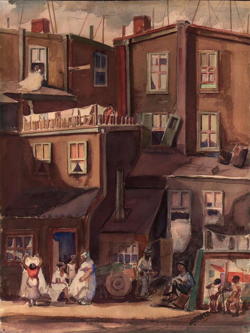 Dox Thrash, City Plevins, ca. 1939. Watercolor. Courtesy of DolanMaxwell