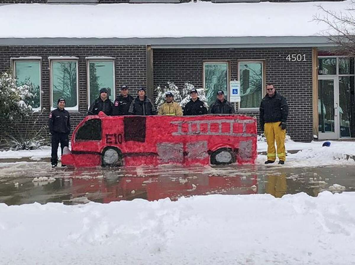 Midland Firehouse 10 took advantage of the snow and made a fire truck replica.