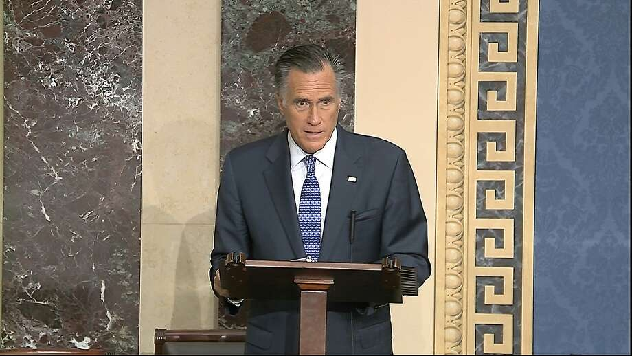 Sen. Mitt Romney explains why he will vote guilty on the abuse of power charge. Photo: Senate Television