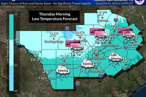 """The National Weather Service updated their forecast for light snow, snow mix to include North San Antonio as an """"area of concern"""" for Wednesday evening. Previous forecasts included the Hill Country and parts of Bexar County, but not explicitly San Antonio proper. The precipitation is possible for areas along and east of Interstate 35 and along and north of Interstate 10, like Austin and North San Antonio Wednesday evening, though little to now snow accumulation is expected."""