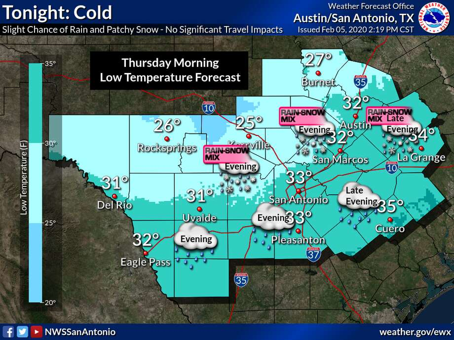 """The National Weather Service updated their forecast for light snow, snow mix to include North San Antonio as an """"area of concern"""" for Wednesday evening. Previous forecasts included the Hill Country and parts of Bexar County, but not explicitly San Antonio proper. The precipitation is possible for areas along and east of Interstate 35 and along and north of Interstate 10, like Austin and North San Antonio Wednesday evening, though little to now snow accumulation is expected. Photo: National Weather Service"""