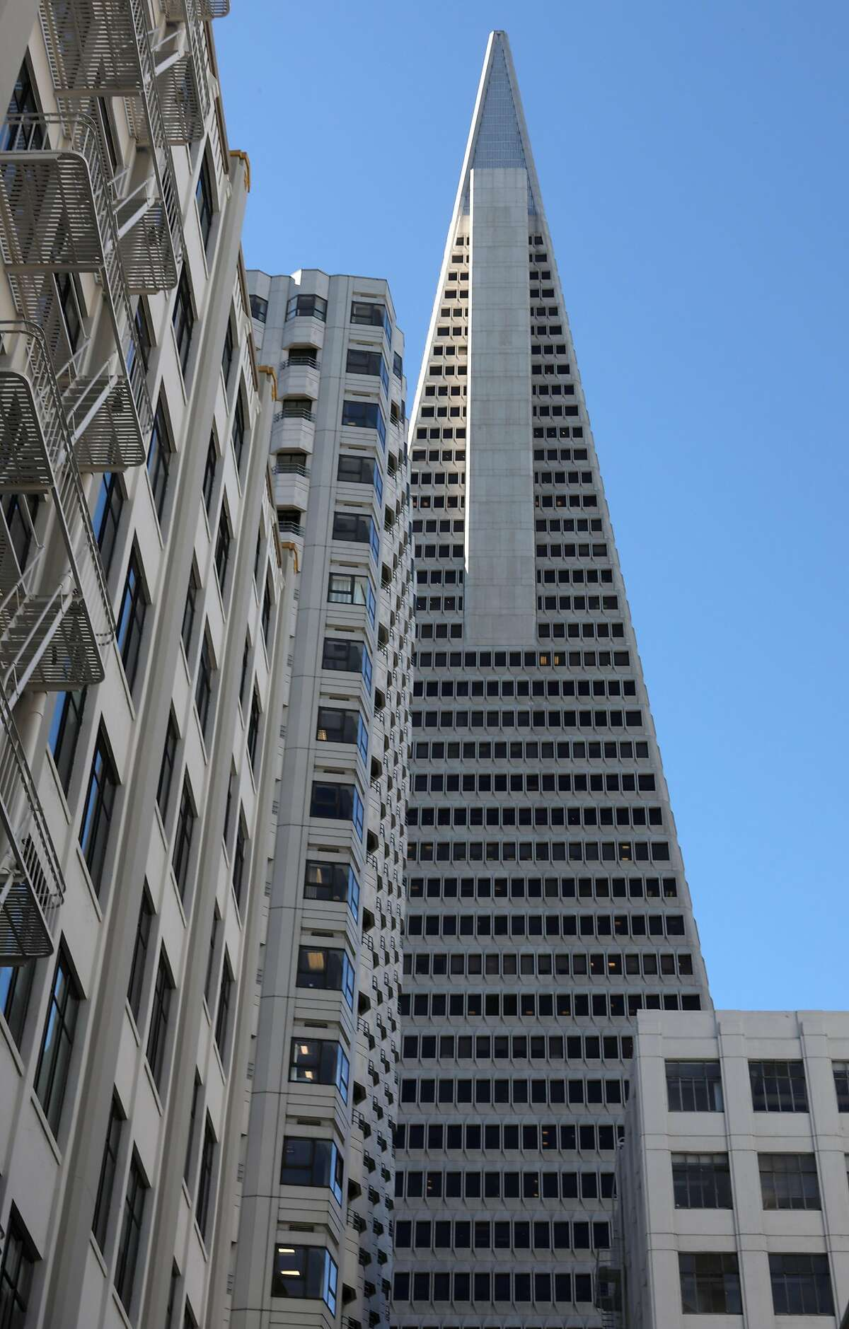 The Transamerica Pyramid (middle) with 505 Sansome St. (left of pyramid) and 545 Sansome St. (lower right of pyramid) are nearing a sale on Monday, Feb. 3, 2020, in San Francisco, Calif.