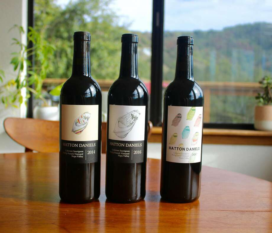 Three vintages of Hatton Daniels Cabernet Sauvignon from Napa Valley's Phillip French Vineyard. Winemaker Dan Fishman gradually stopped using sulfur. Photo: Sarah Ammons