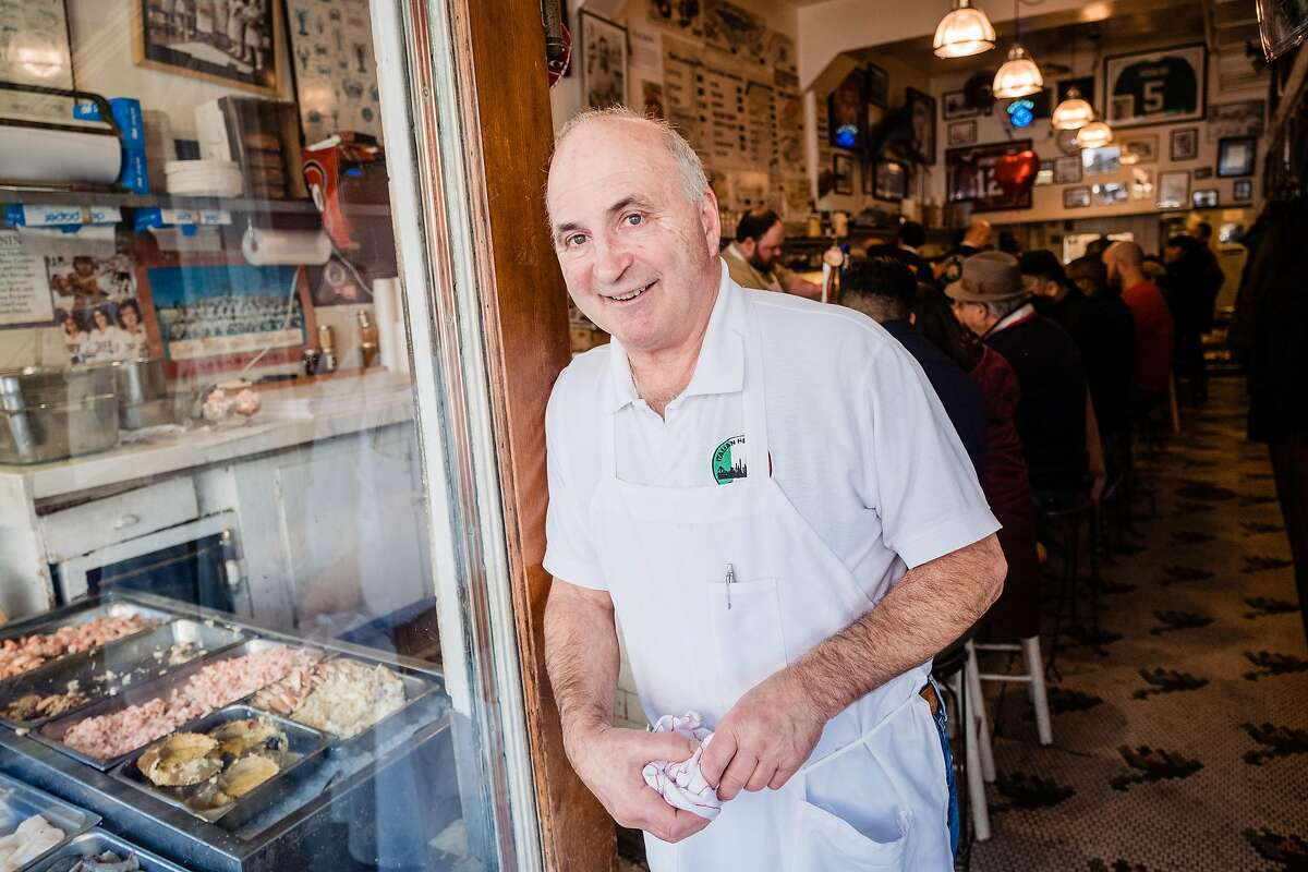Owner Steve Sancimino poses for a photograph at the Swan Oyster Depot in San Francisco, Calif. on Wednesday, February 5, 2020.