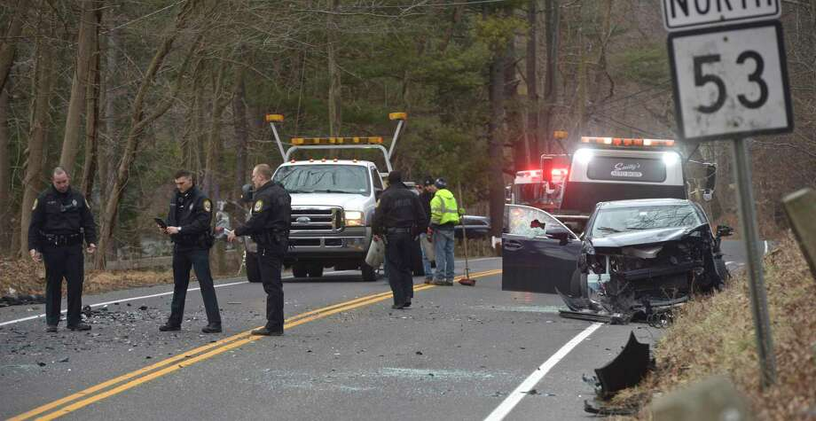 Traffic accident on Route 53, near the intersection with Nashville Road, in Bethel, Ct, Wednesday, February 5, 2020. Photo: H John Voorhees III / Hearst Connecticut Media / The News-Times