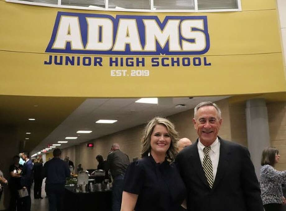 Katy Independent School District opened Adams Junior High in August 2019. The district dedicated the school on Feb. 4. At the dedication arePrincipalElisabeth Brodt and the school namesake Joe Adams. Photo: Courtesy Katy ISD