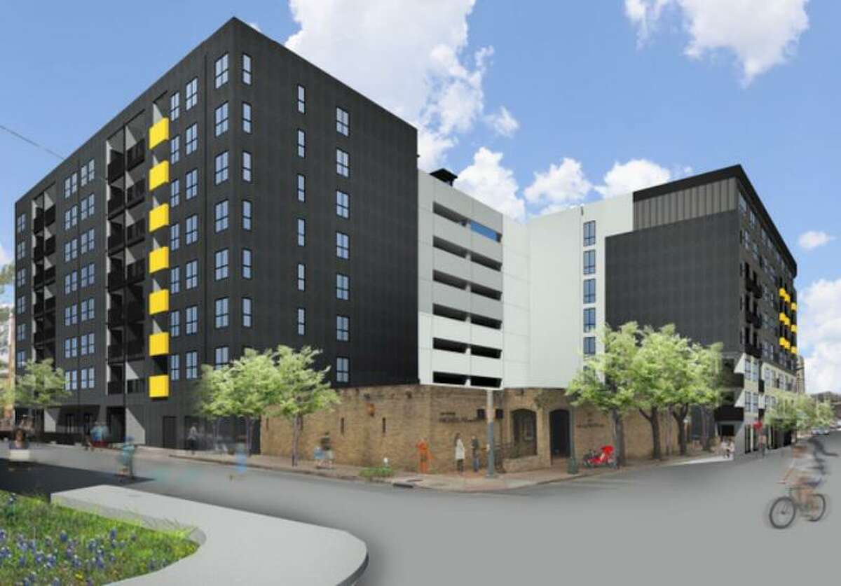 Renderings of St. John's Square, an 8-story, 252-unit complex planned for South St. Mary's and East Nueva streets in San Antonio.