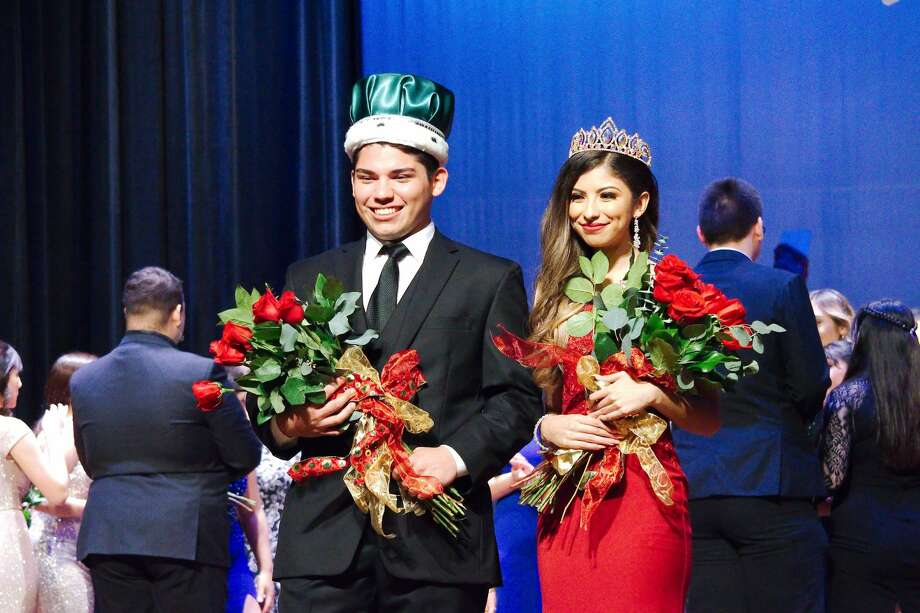 Ryan Cepeda and Natalia Gonzales are crowned Pasadena High School's Emerald King and Queen. Photo: Kirk Sides/Staff Photographer