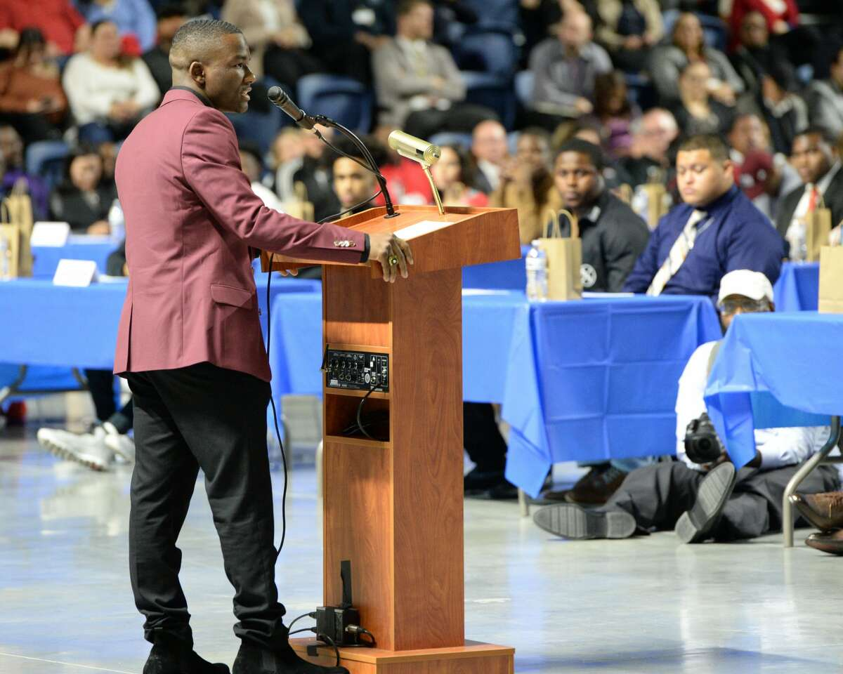 Westside HS graduate and current Texas A&M University wrestler Ty'Rae Carter addresses HISD student athletes participating in the National Signing Day ceremony at the Delmar Sports Complex in Houston, TX on Wednesday, February 5, 2020.