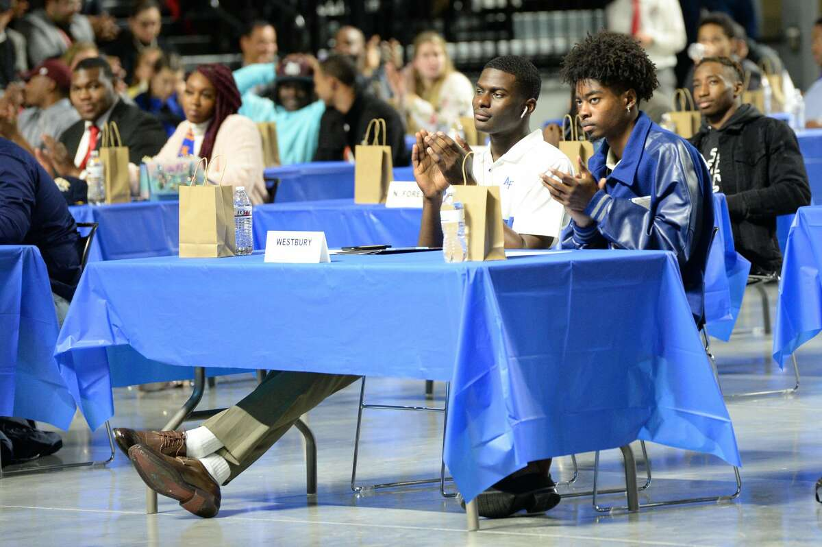 HISD student athletes participate in the National Signing Day ceremony at the Delmar Sports Complex in Houston, TX on Wednesday, February 5, 2020.