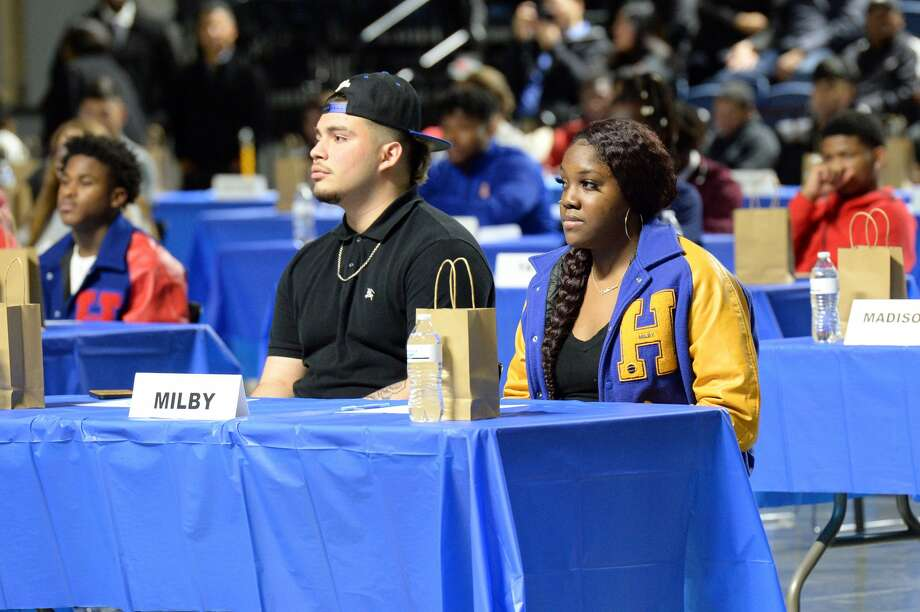 HISD student athletes participate in the National Signing Day ceremony at the Delmar Sports Complex in Houston, TX on Wednesday, February 5, 2020. Photo: Craig Moseley/Staff Photographer