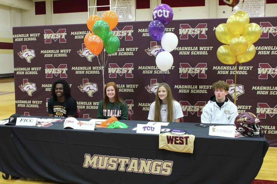 From left: Magnolia West athletes A.J. Thurston, Maddy Vilven, Peyton McQuillan and Payton Finch celebrated their college signings on Wednesday. Photo: Jon Poorman