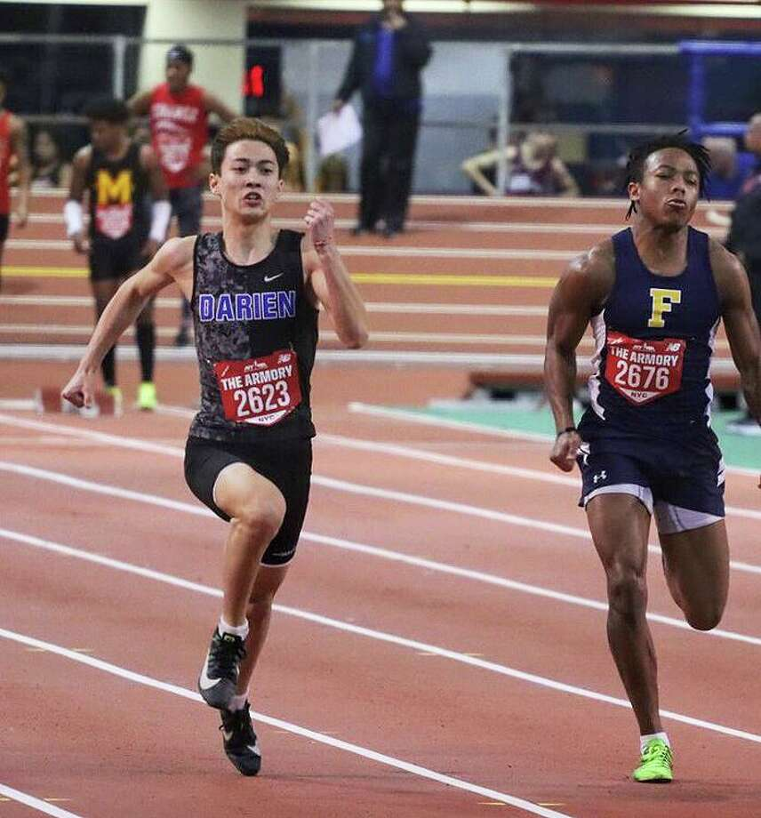 Darien's Nick Balenzano competes in the 600-meter run during a track and field meet at The Armory in New York City in January. Photo: Contributed / Hearst Connecticut Media / Hearst Connecticut Media