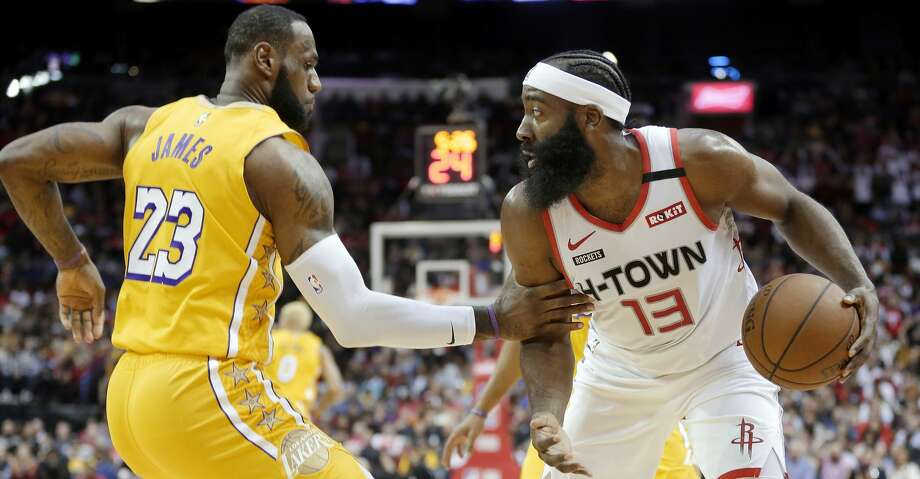 PHOTOS: Rockets game-by-game Los Angeles Lakers forward LeBron James (23) grabs Houston Rockets guard James Harden (13) after a rebound during the first half of an NBA basketball game Saturday, Jan. 18, 2020, in Houston. (AP Photo/Michael Wyke) Browse through the photos to see how the Rockets have fared in each game this season. Photo: Michael Wyke/Associated Press