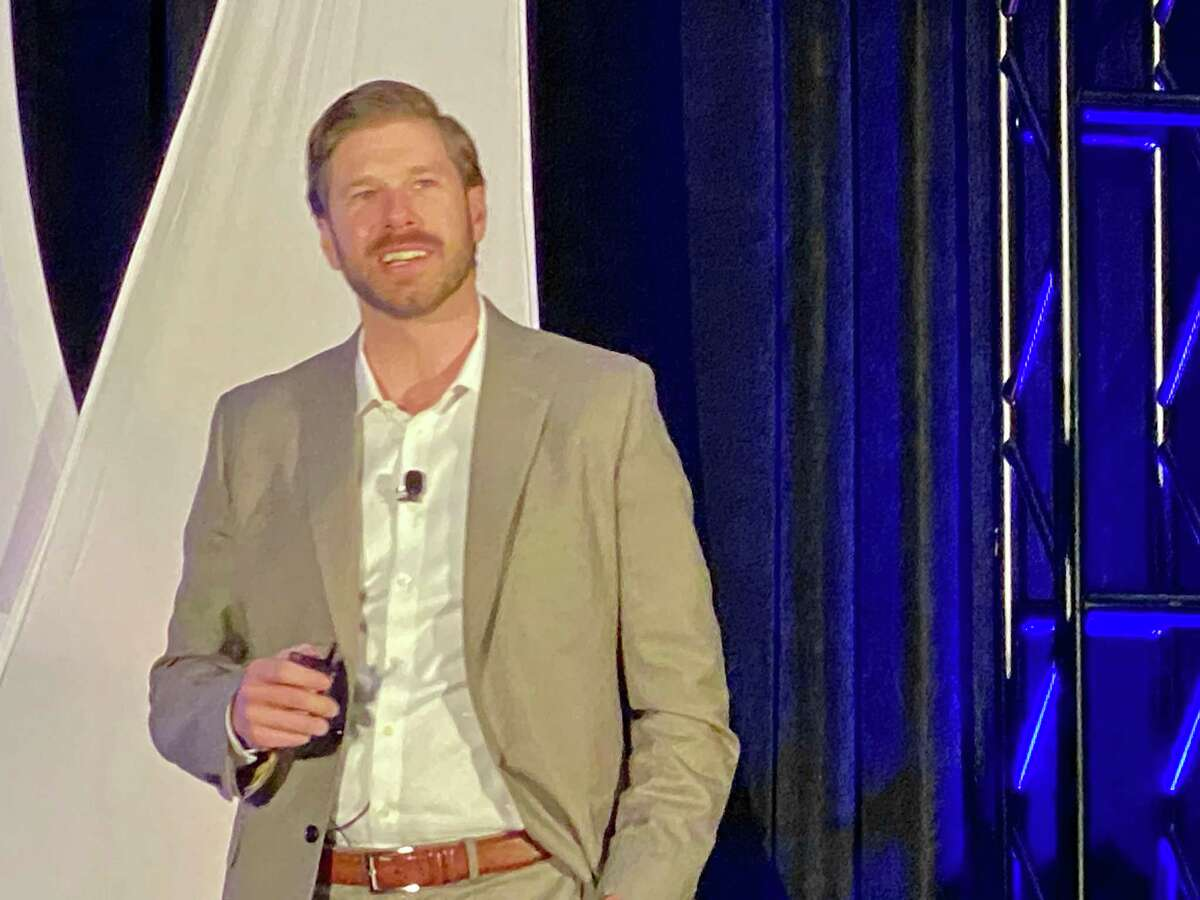 Parsley Energy CEO Matt Gallagher speaking at the NAPE Summit in downtown Houston on Wednesday, February 5, 2020 where he debuted the Shale New Deal, a plan to fight the oil and natural industry's problems with perception, pollution and profits.