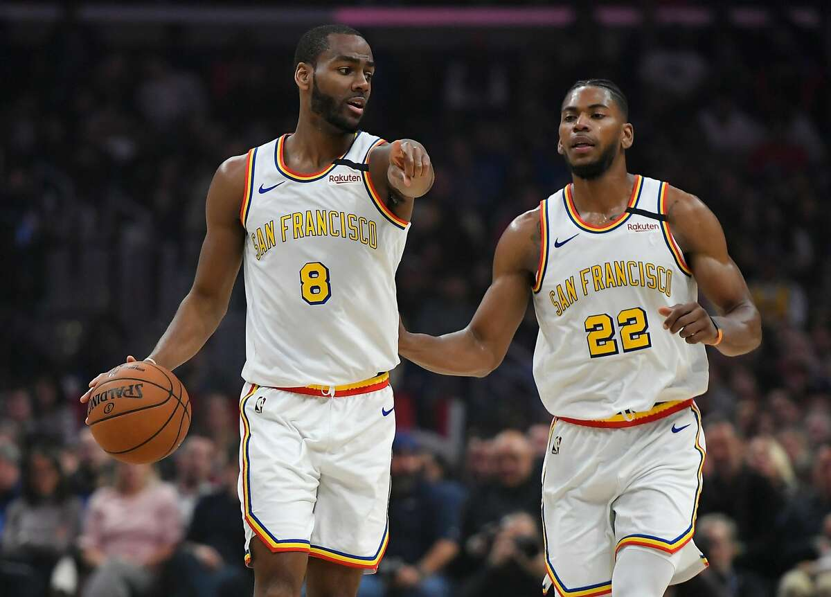 LOS ANGELES, CA - JANUARY 10: Alec Burks #8 and Glenn Robinson III #22 of the Golden State Warriors seen playing the LA Clippers at Staples Center on January 10, 2020 in Los Angeles, California. NOTE TO USER: User expressly acknowledges and agrees that, b