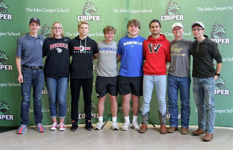 Eight John Cooper School athletes celebrated their college signings on Wednesday morning. Photo: Lynn Boeding