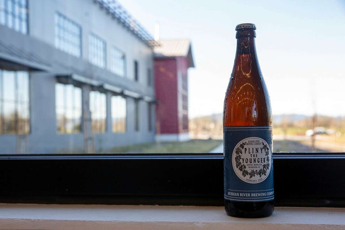 A bottle of Pliny the Younger beer at the Russian River Brewing Company, Wednesday, Feb. 5, 2020, in Windsor, Calif.