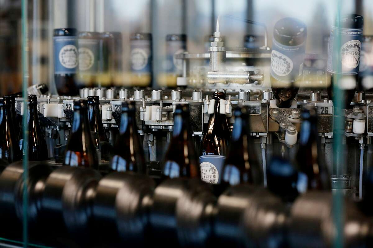 Pliny the Younger is bottled at the Russian River Brewing Company, Wednesday, Feb. 5, 2020, in Windsor, Calif.