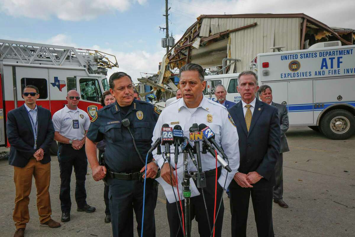 Police Chief Art Acevedo, Fire Chief Samuel Peña and ATF Special Agent Fred Milanowski give an update on the Watson Grinding and Manufacturing blast.