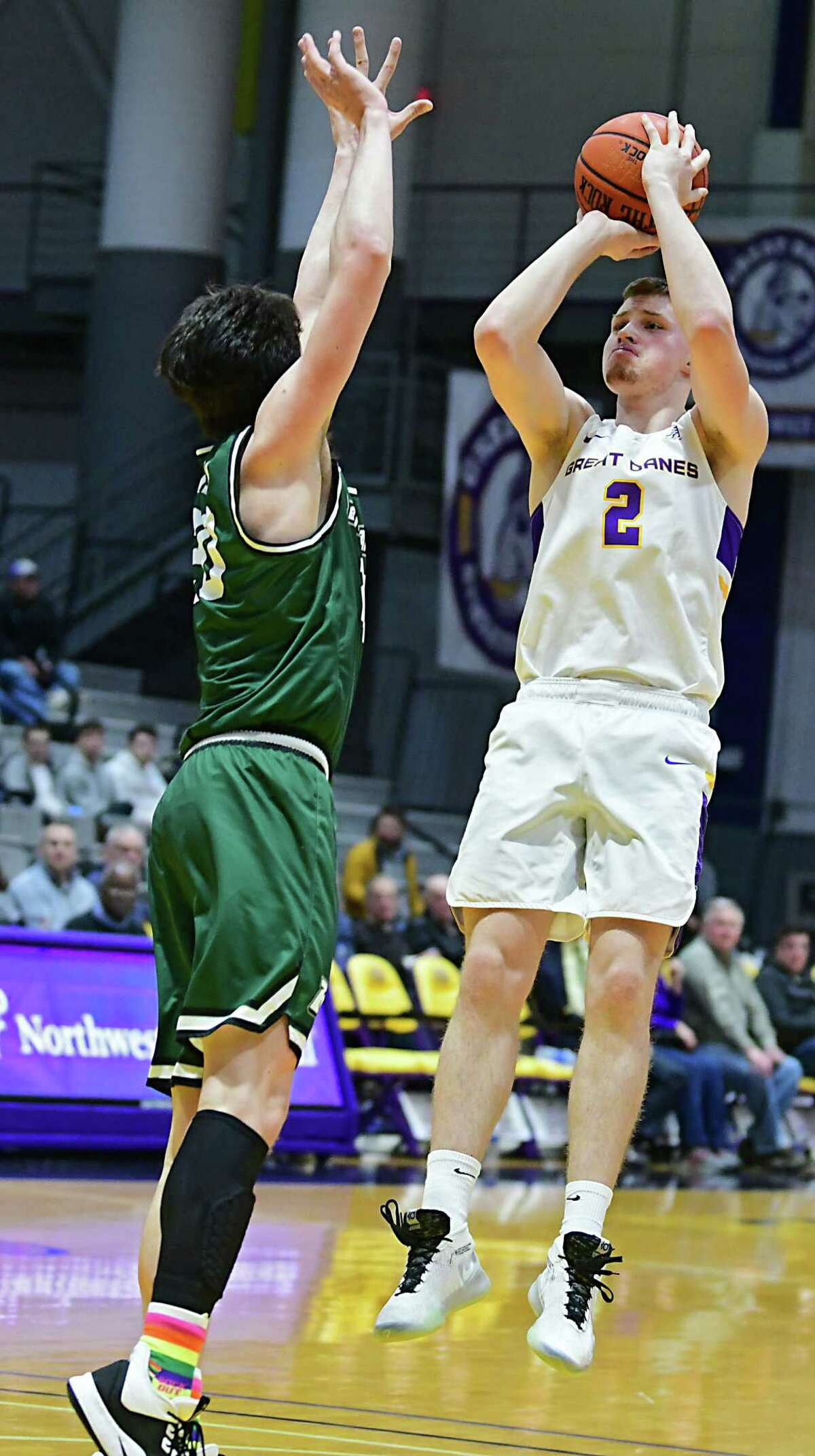 University at Albany's Trey Hutcheson puts up a shot against Binghamton's George Tinsley during a game at the SEFCU Arena on Wednesday, Feb. 5, 2020 in Albany, N.Y. (Lori Van Buren/Times Union)