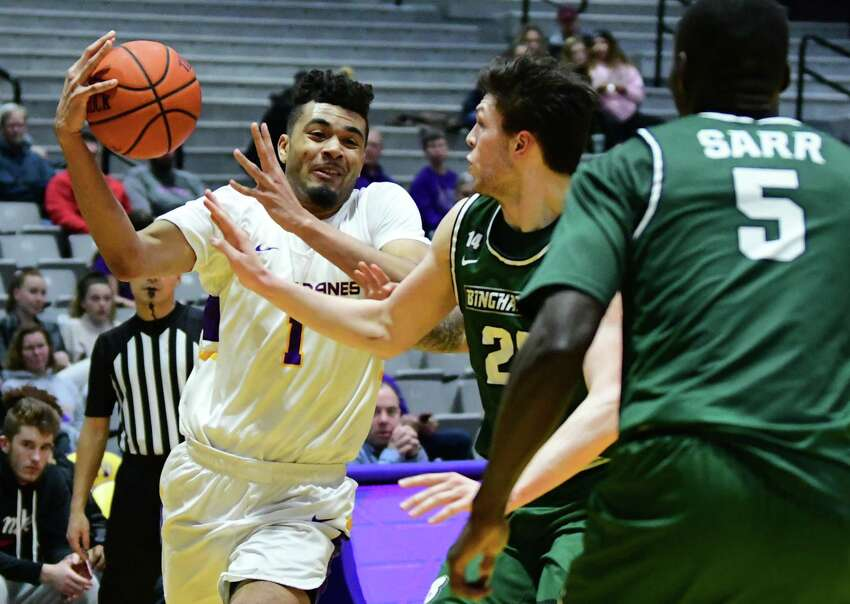 University at Albany's Malachi de Sousa drives to the basket during a game against Binghamton at the SEFCU Arena on Wednesday, Feb. 5, 2020 in Albany, N.Y. (Lori Van Buren/Times Union)