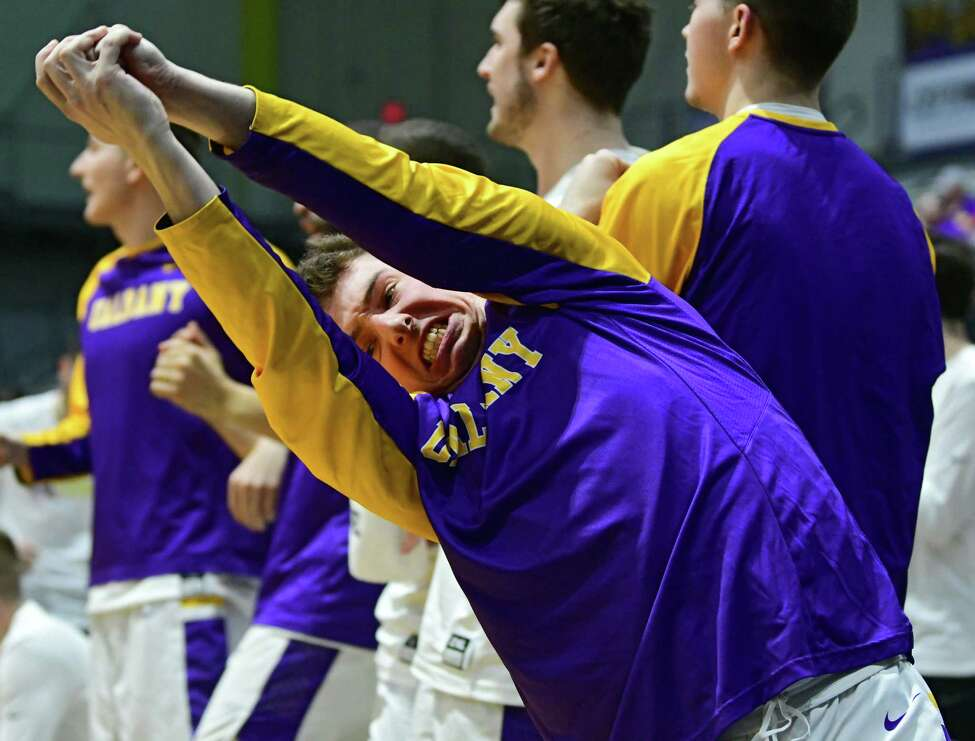 University at Albany's Nick Fruscio reacts to a UAlbany score during a game against Binghamton at the SEFCU Arena on Wednesday, Feb. 5, 2020 in Albany, N.Y. Fruscio was put in the first half for the first time with the team. (Lori Van Buren/Times Union)