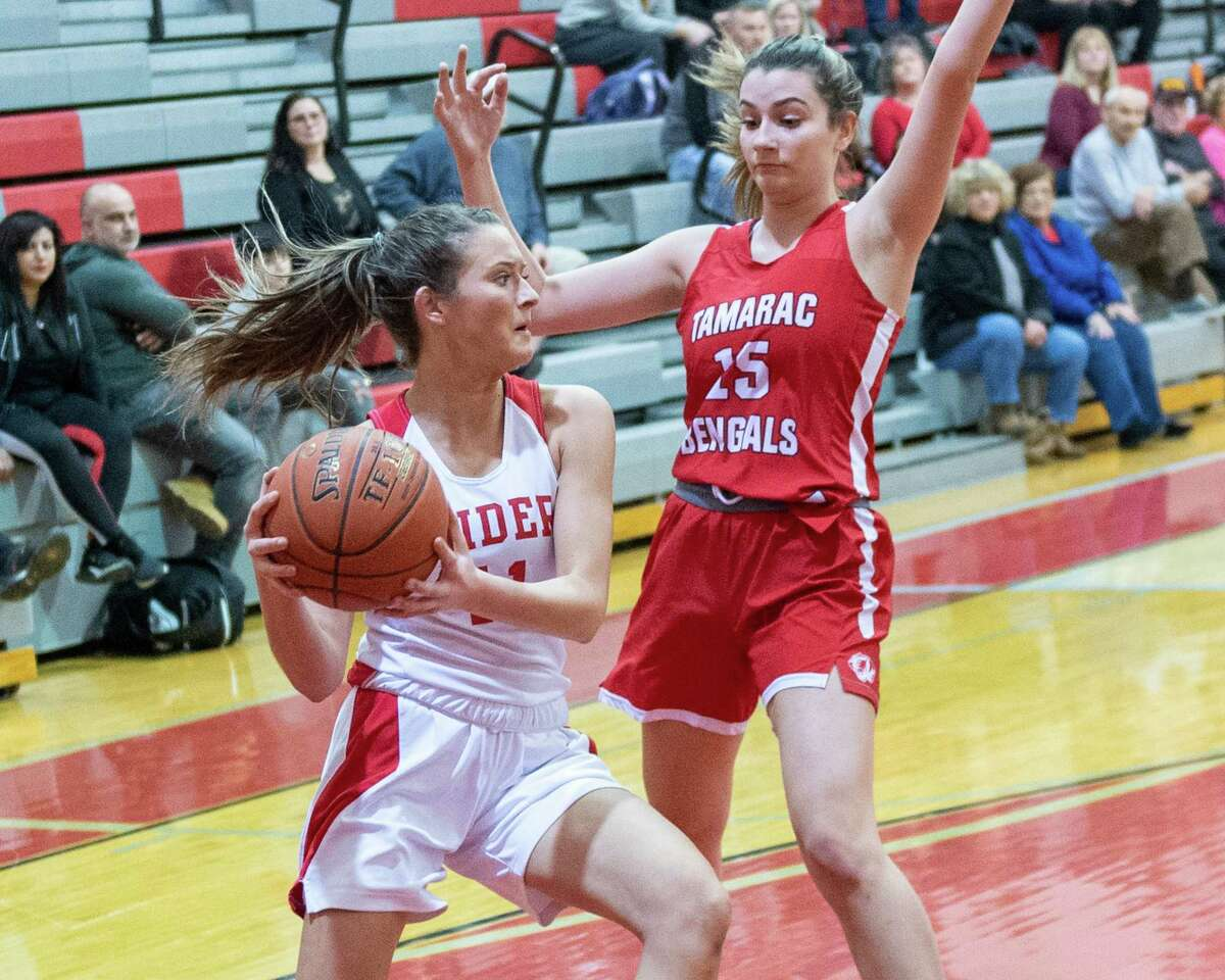Mechanicville senior Charli Goverski drives to the basket in front of Tamarac senior Gabriella Cellucci during a Wasaren League game at Mechanicville High School on Wednesday, Jan. 5, 2019 (Jim Franco/Special to the Times Union.)