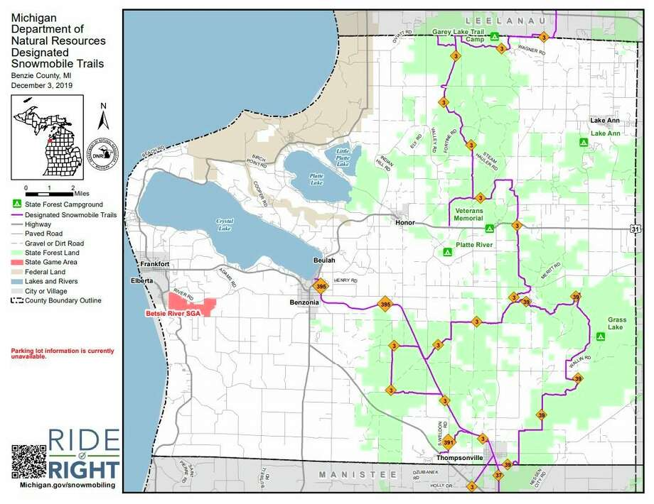 The SMARTrails program seeks to connect recreational pathways across northern Michigan. SMARTrails has been working with the DNR and Betsie Valley Trails group to surface a section of the Snowbird's trail 37 that connects Thompsonville to Copemish in 2020. (Courtesy map/Michigan Department of Natural Resources)