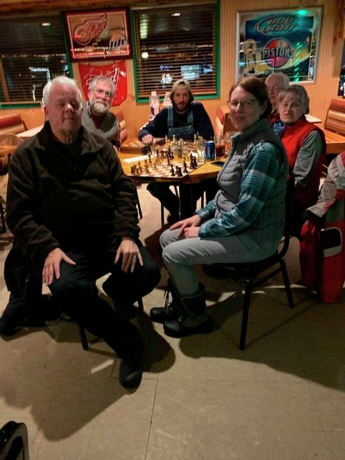 Chess players meet in competition at 6 p.m. every Tuesday at Barski, 4016 M-37, two miles north of Baldwin, and every Wednesday at 5 p.m. in Irons at Jackie's Place, 6016 W. 10 1/2 Mile Rd. Pictured from left are John Kuderski, of Brethern; Dave Gendler, Joshua Elie and Linda Schulman, of Irons; and George and Rose McLaughlin of Manistee. (Submitted photo)