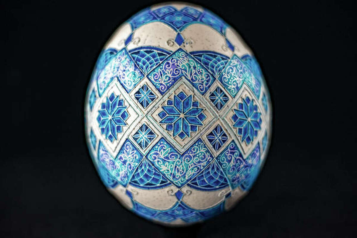 An acid-etched, pysanka-decorated ostrich egg is among artist Katherine Alexander's works.