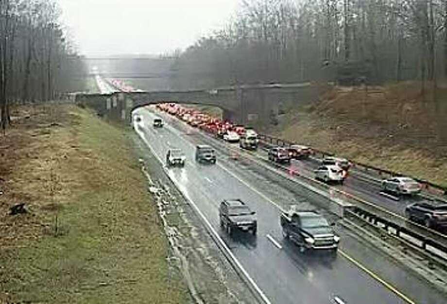 Southbound traffic is delayed on the Merritt Parkway betwen Exits 44 and 42 because of a two-vehicle accident on Thursday, Feb. 6, 2020. Photo: Traffic Cam
