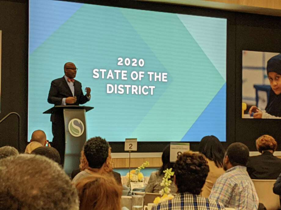 Spring ISD Superintendent gives the 2020 State of the District address to Spring residents Feb. 5 at the Randall Reed Center, 23802 Cypresswood Drive. Photo: Paul Wedding