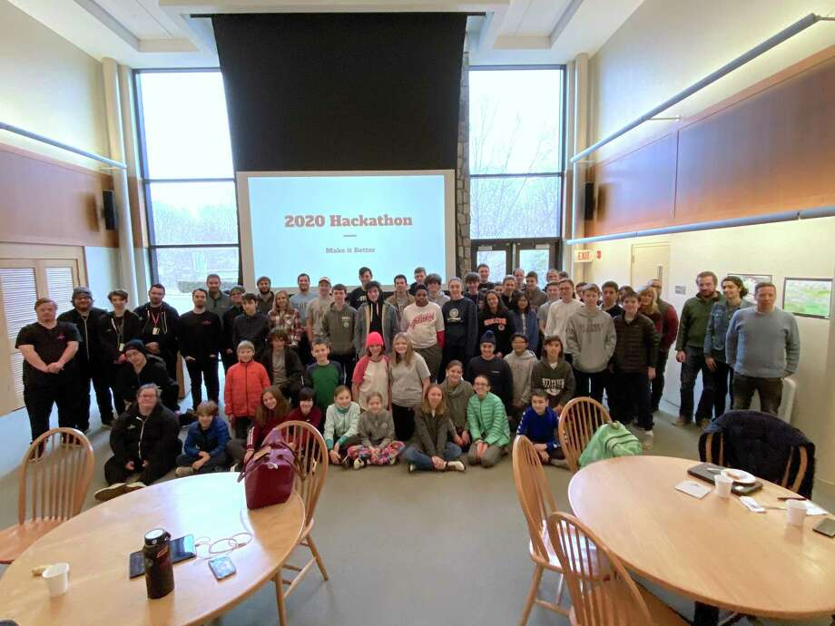 Participants in St. Luke's School's Hackathon 2020 in New Canaan pose for a photo. Photo: Valerie Parker / St. Luke's School / Contributed Photo