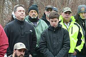 Union workers, officials, and families and friends of the Kleen Energy blast victims gathered in 2019 at the memorial on River Road in Middletown to remember the six men who died Feb. 7, 2010, in the tragic gas explosion.